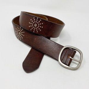 AEROPOSTALE Studded Leather Belt S Brown Burst